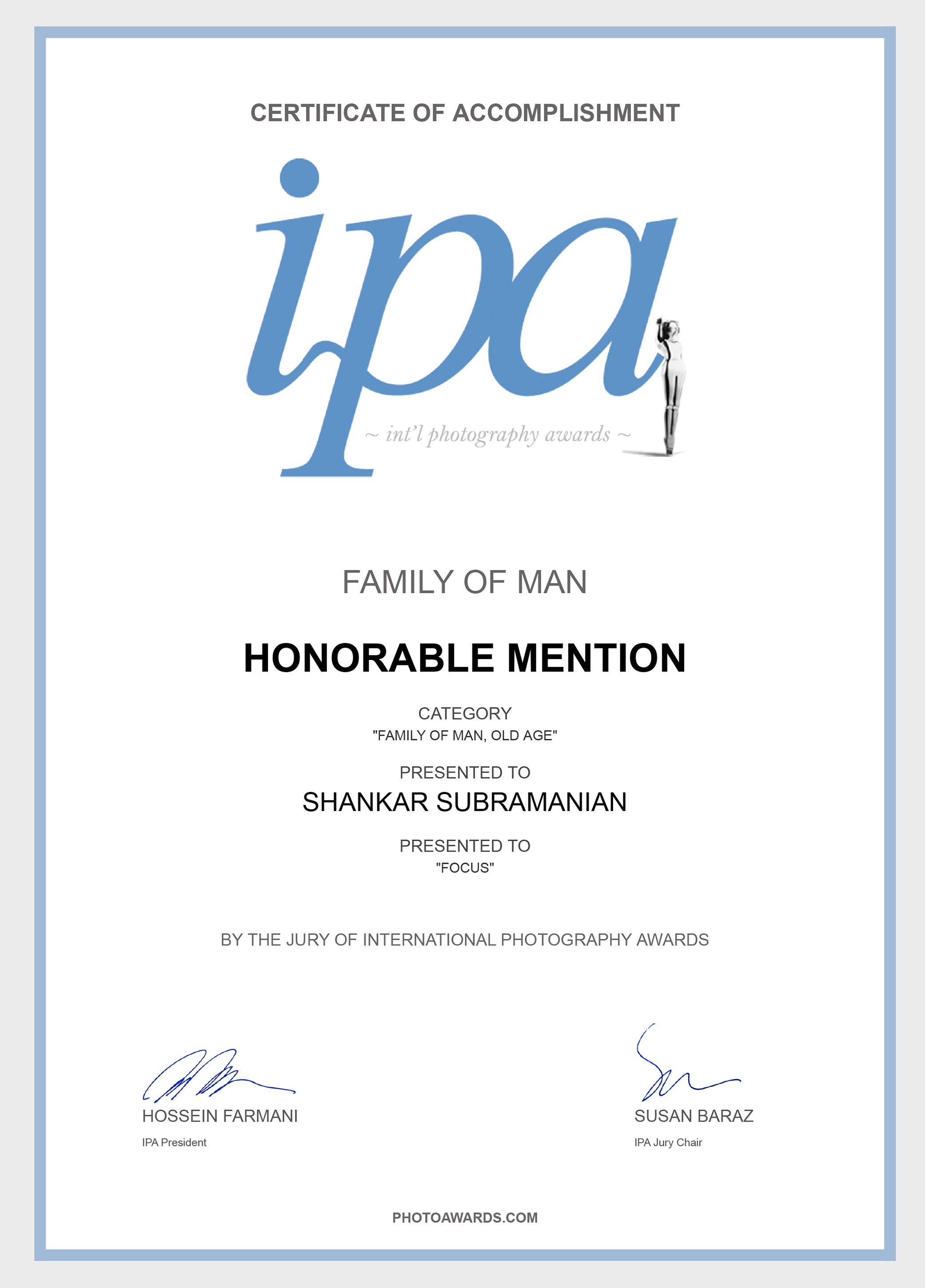 IPA Certificate - Honorable Mention